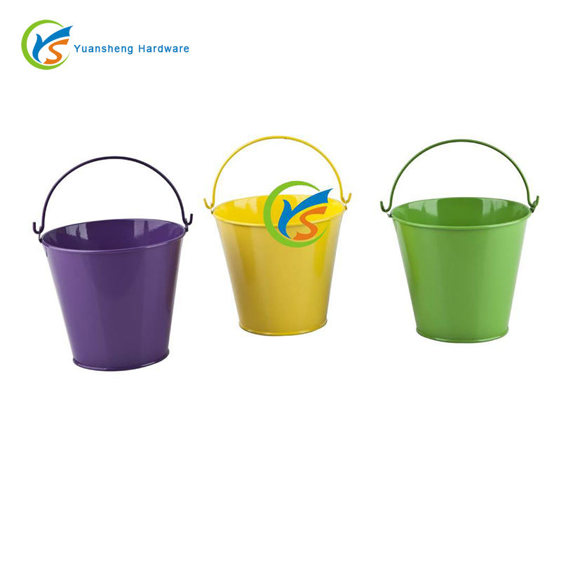 Mini colorful kids metal beach bucket with wire handle