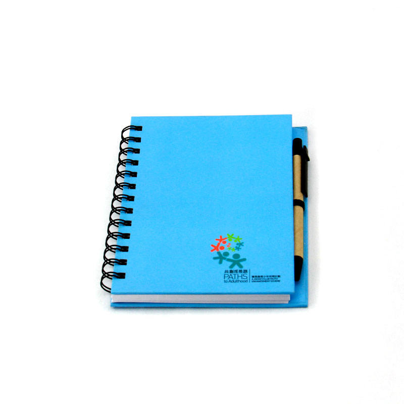 Custom pages Blue Color Spiral Binding Hardboard cover notebook with pen