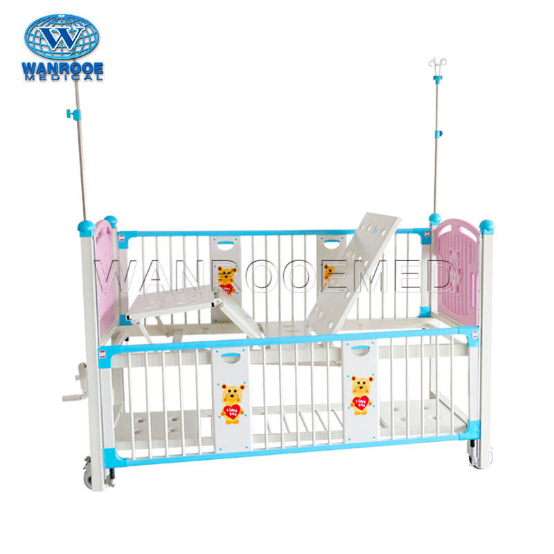 BAM201C Medical Manual Pediatric Infant Hospital Children Bed With Three Level Siderails