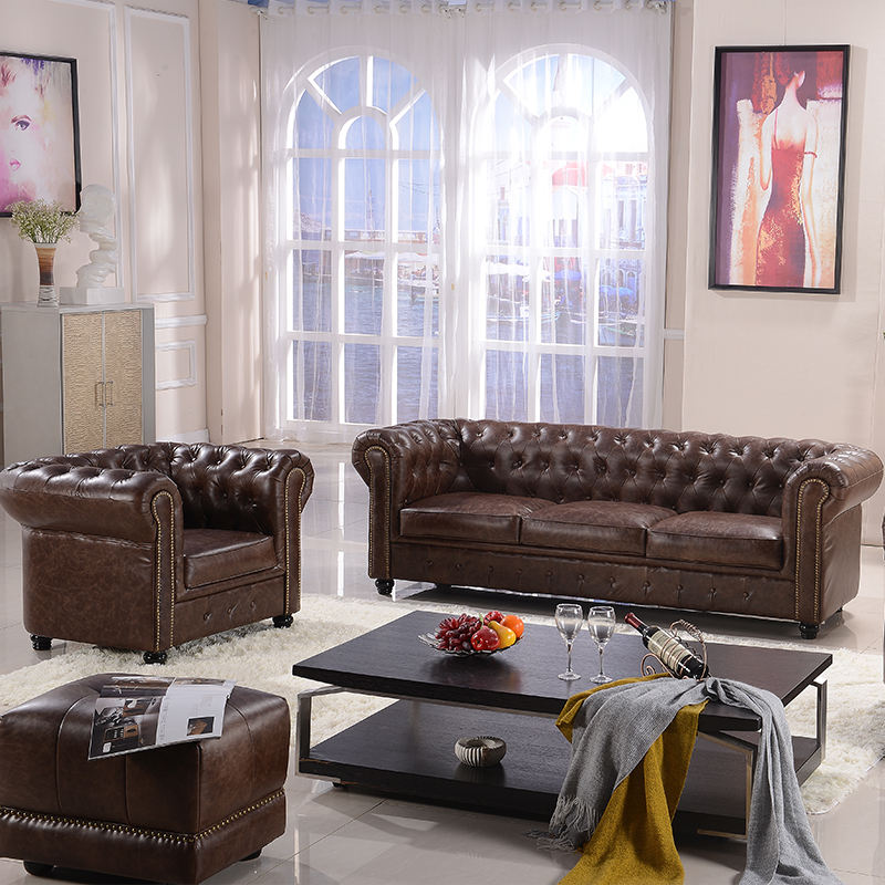 factory bottom price leather sofa furniture chesterfield sofa