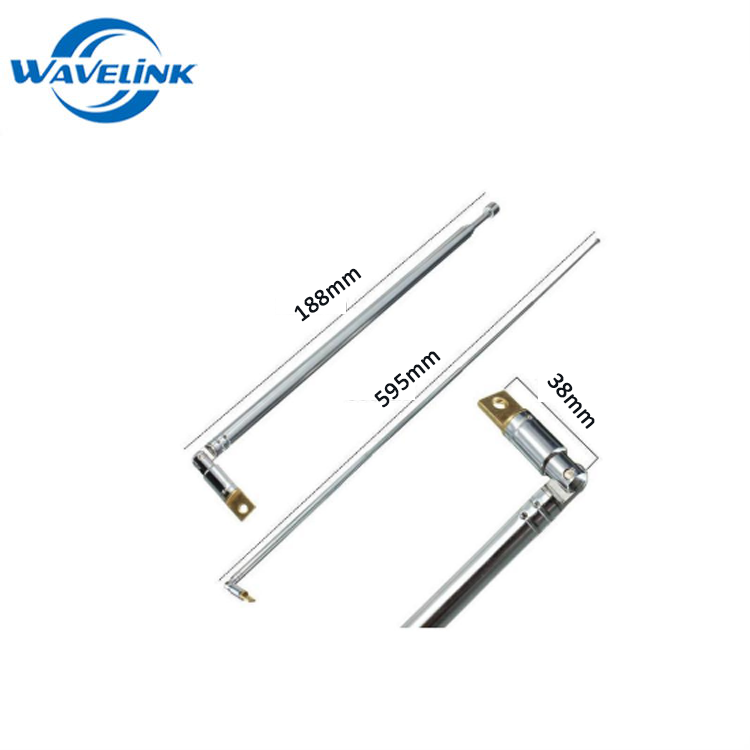 Free Sample External Performance UHF Full Channel 630mm 4 Section Aluminum Whip AM FM Radio Telescopic Antenna
