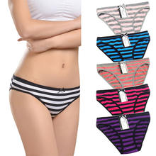 Cute Girl Teen Breathable Cotton Striped Women Underwear Young Girls Women Panties