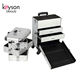 Keyson Aluminum Diamond Beauty Rolling Case 4 in 1 Makeup Luggage Train Case with Drawers