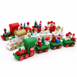 Christmas decoration, Christmas wooden Mini trains, Children's Christmas gift