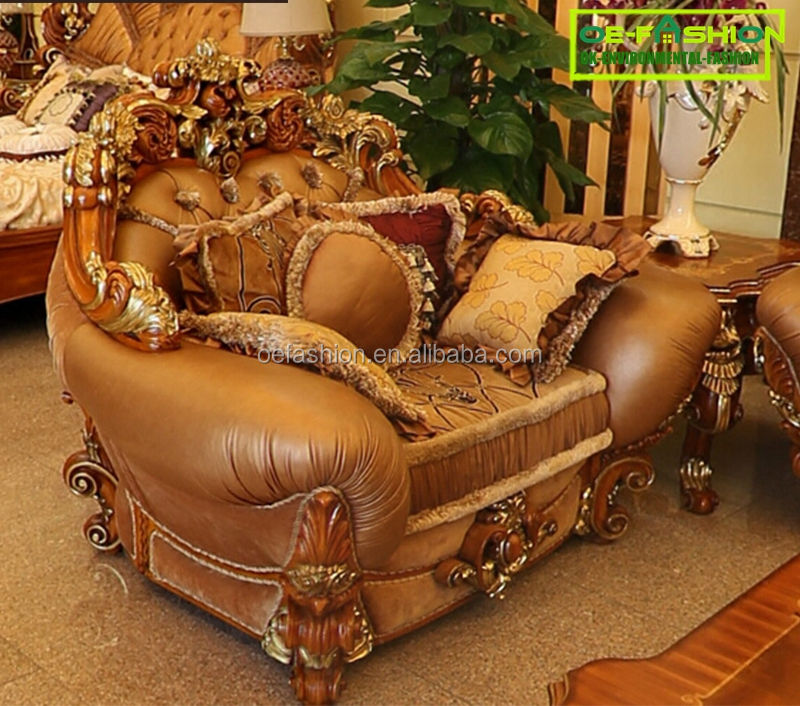 OE-FASHION Luxury Design Hand Carved Home Furniture wooden/Brown Leather Sofa