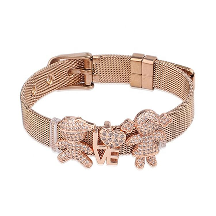Unisex Stainless Steel Rose Gold Wire Mesh Adjustable Bracelet DIY CZ Charm Belt Buckle Bracelet