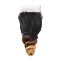 Mayqueen Cuticle Aligned Virgin T1B/4/27 Human Hair Extention,Loose Wave Closure With Baby Hair