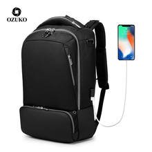 Ozuko 2020 Usb Bag Waterproof Schoolbag School Running Computer Factory Rucksack Backpack
