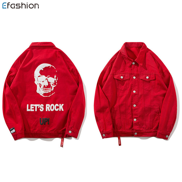 manufacturer china coloured men red denim jackets with skull printed