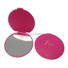 make up round mirror silver plated technique folding single sides plastic pocket mirror