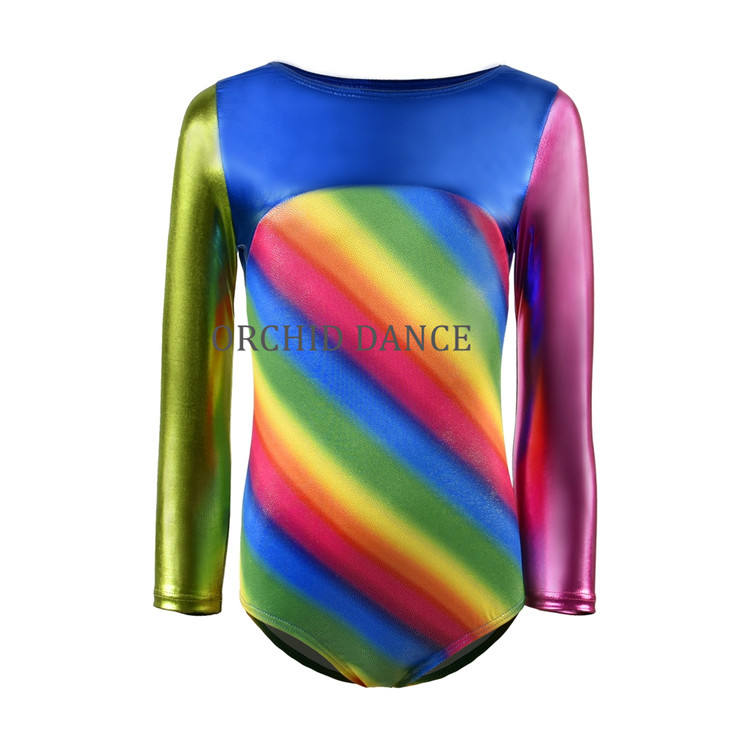 Wholesale High Quality Shiny Spandex Long Sleeve Gymnastics Wear Girls