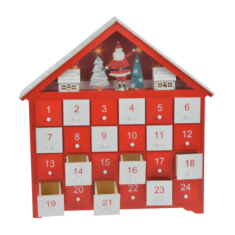 Wooden Advent Calendar New Product Ideas LED Light Wooden House Christmas Advent Calendar With 24 Drawers