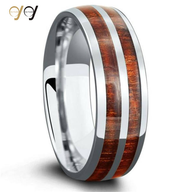 Fashion Jewellery Silver Engagement Wedding Ring With Koa Wood Inlaid