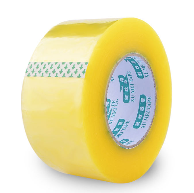 China Top Quality Strong Viscosity Transparent Sticky Yellowish Adhesive BOPP packing tape for carton sealing