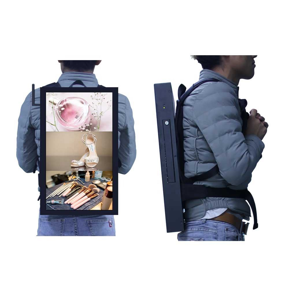 22 inch HQ220-P1 backpack lcd digital billboard with vertical design supporting to add GPS/3g/4g