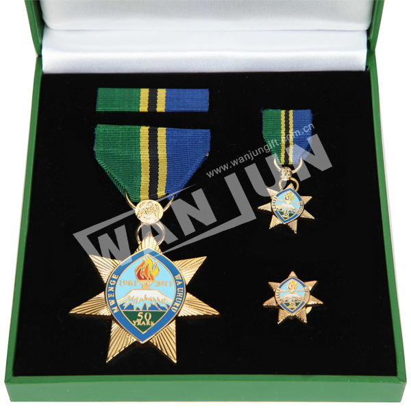 beautiful brass war military medal with ribbon