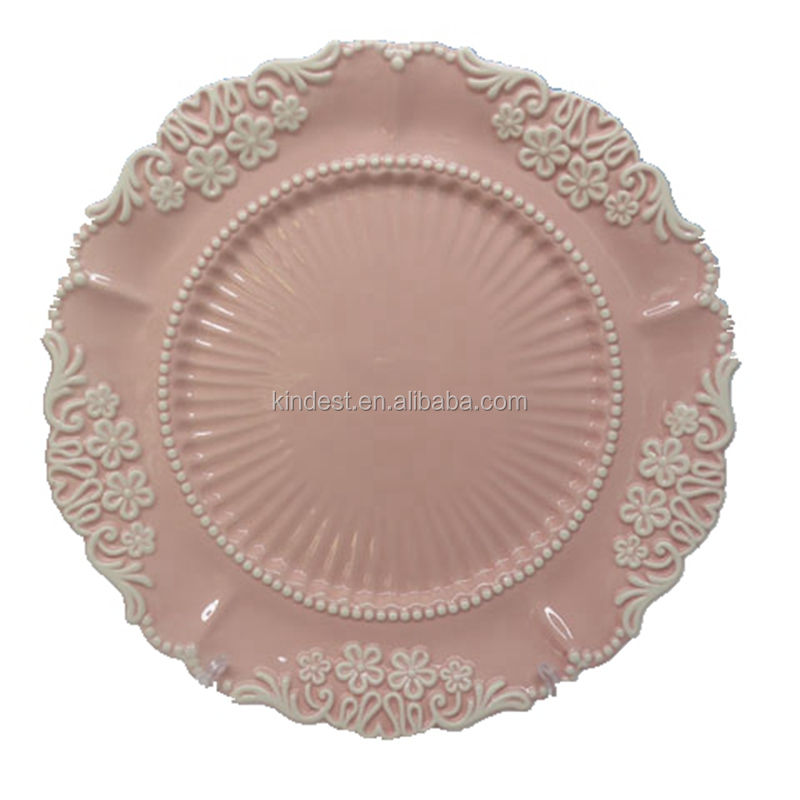 Customized Round shape ceramic embossed pink color charger plate dish