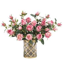 RF Wholesale High Quality Artificial Flowers 2 Head Rose For Wedding Bouquets and home decoration