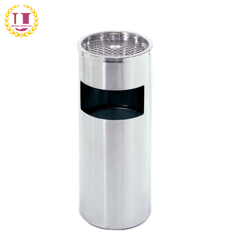 Stainless Steel Outdoor Ashtray Stand Rubbish Bin