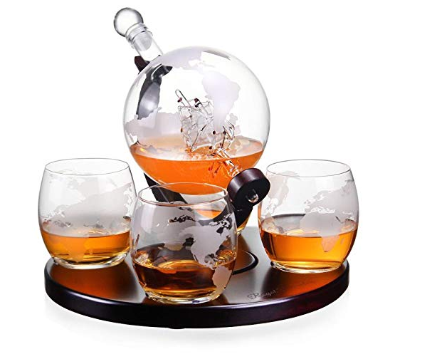 Amazon World Map decals Decanter With 2 Globe Glasses Perfect Gift Whiskey Glass Globe decals Decanter Set