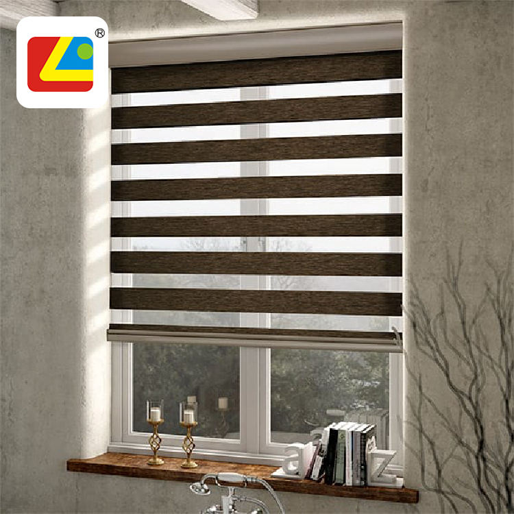 Home Automation Zebra Tirai Siang dan Malam Indoor Jendela Blackout Zebra Roller Blind Cordless Window Shades