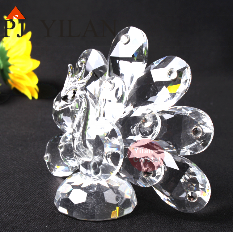 Wholesale Attractive Design New Coming Crystal Peacock Crystal Animal Figurine For Birthday Funny Presents