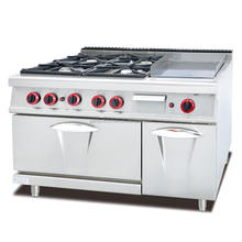 2017 Modern Type Stainless Steel Commercial Gas Range with 4 burner & griddle&oven