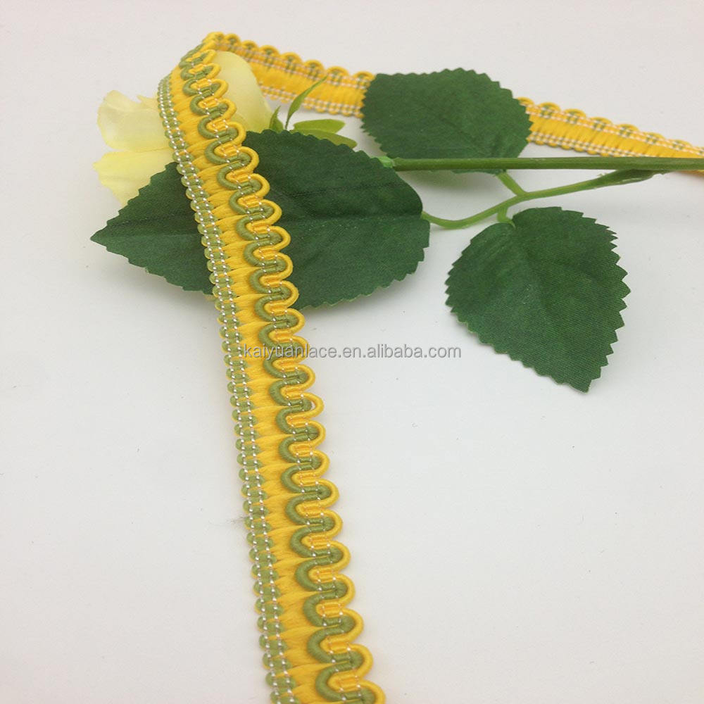 green yellow braid polyester wire sewing applique lace ribbon trimming