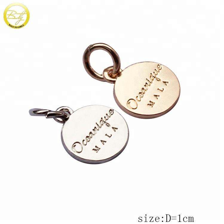 Custom design ronde brief woord zin tags gold metal charms voor ketting