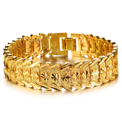 Bully Gold Men Bracelet Imitation Solid Gold Jewelry 24K Dubai Gold Plated Luxury Designs Men Bracelet Bangle