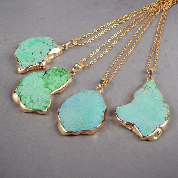 Turquoise Pendant  Layering Boho Pendant  Gesmtone Crystal Necklace  14K gold vermeil  Summer Howlite Jewelry