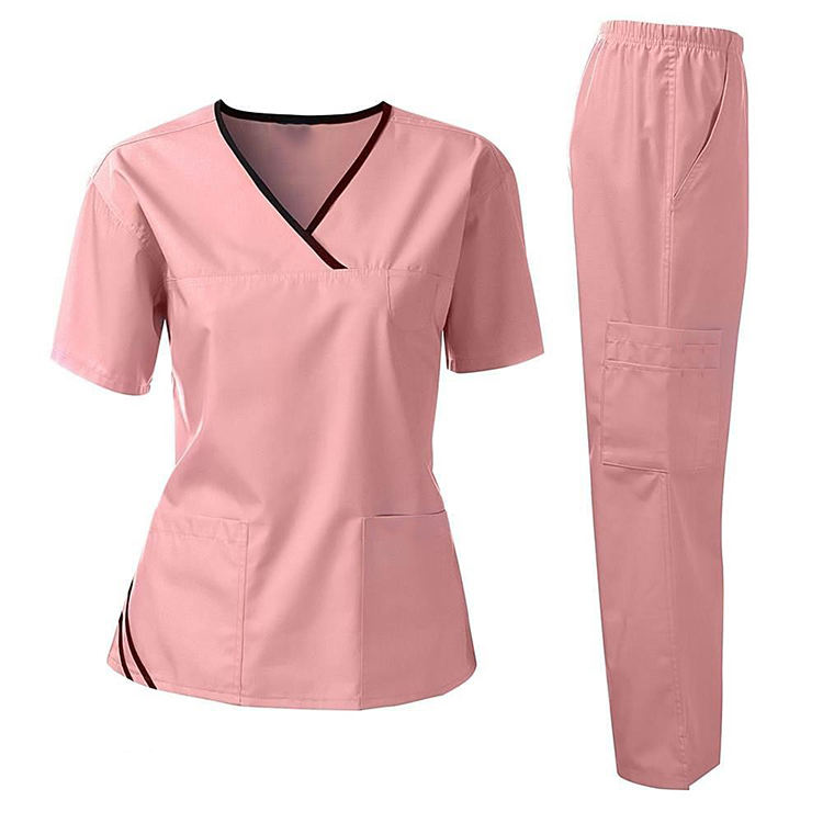 2020 Custom Polyester Cotton Spandex Scrub Suit Designs for Women