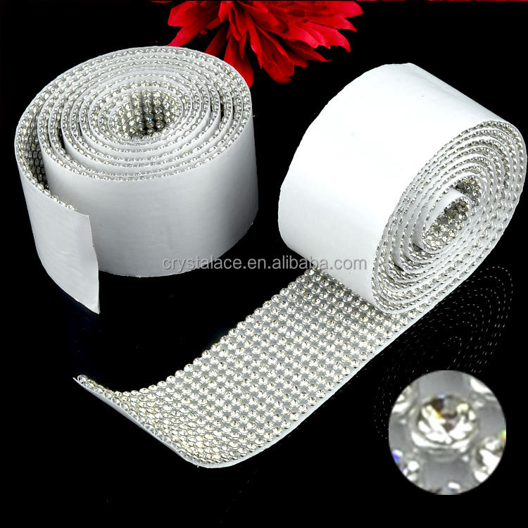 FREE SHIPPING China Sticker rhinestone Mesh, Metal Setting Sticky Crystal Rhinestone Rolls Trimming in Guangzhou