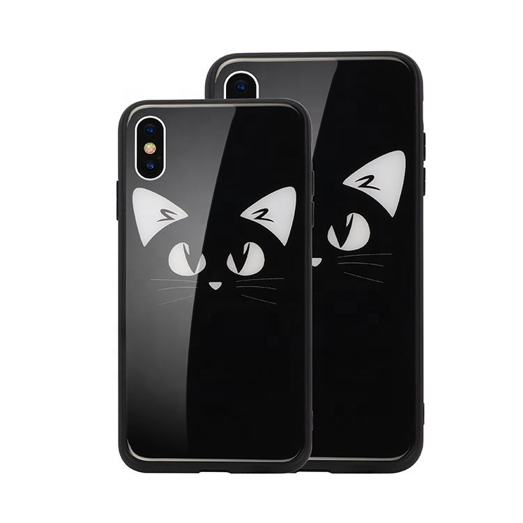 Unique Fashion LED Glowing cellphone tempered glass cute cat Illuminated phone case accessories back cover for iPhone x xs xr xm
