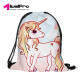 Factory Spot hot sale creative style cute cartoon pony horse 3d printing unisex polyester drawstring backpack storage bag