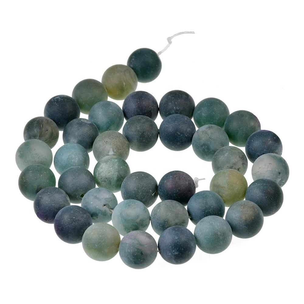 Gorgeous Matte Frosted 8mm Moss Agate Loose Gemstone Round Beads For Jewelry Making Necklace Bracelet