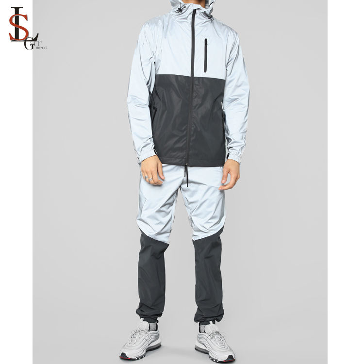 High quality mens windbreaker 3M reflective joggers tracksuit custom safety jackets and pants suits