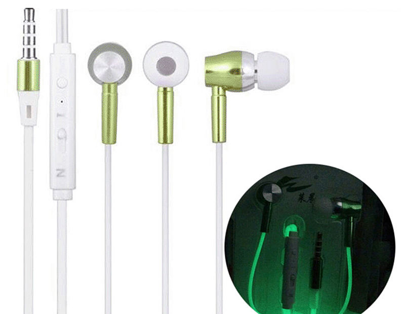 High Quality Metal Luminous Headset in-Ear 3.5mm Deep Bass Wired Earphones with Mic