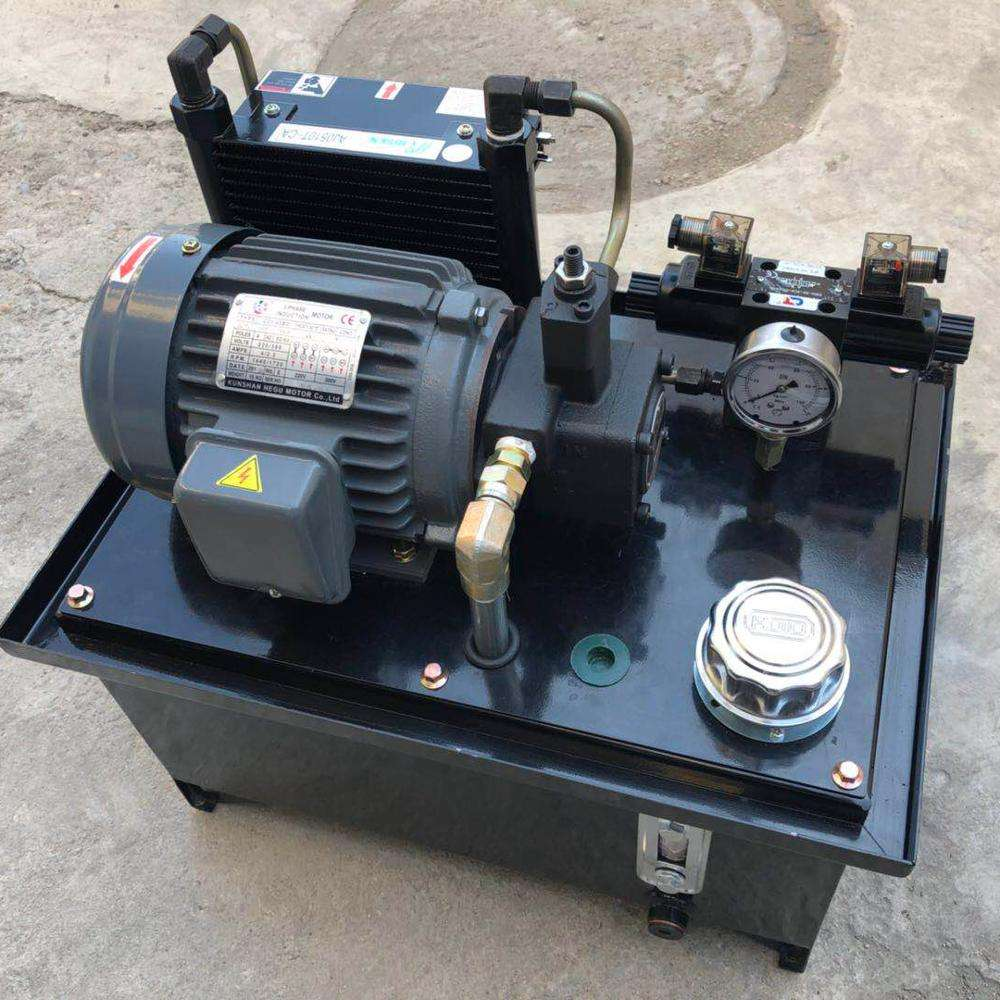 0.75 KW motor, blade pump, wind cooler, 40L tank, 24V solenoid valve, hydraulic station for machine tools, system.