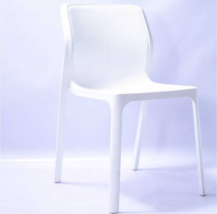 Modern italian white colored stackable Armless Plastic Dining Chair