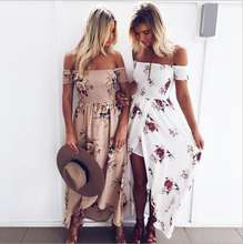 Walson long dress women Off shoulder beach summer Printed Floral maxi dress