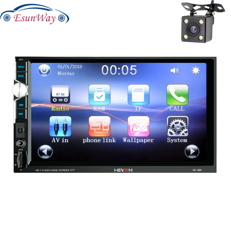 "7 ""2 DIN Bluetooth Android Video Universal MP5 Layar Sentuh HD Digital Display AUX FM Radio MP3 MP4 Musik pemain"