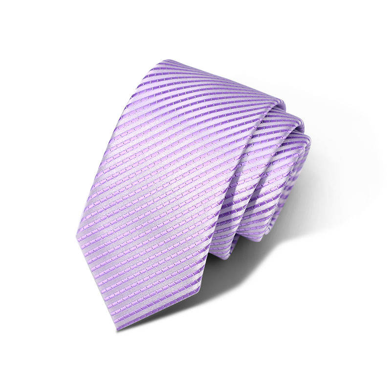 Men Striped Silk Fabric Necktie Handmade With Custom Embroidery Logo