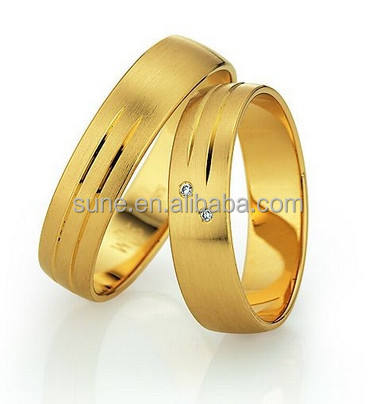18 k oro giallo wedding ring set campione gratuito da sposa occidentale oro ornamento set in titanio