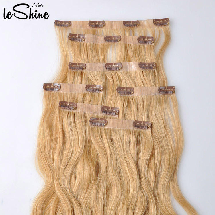 LeShine Hair 100% Human Virgin Remy Cuticle Clip in Hair Extension Hhuman Double Drawn Bellami Hair Extensions