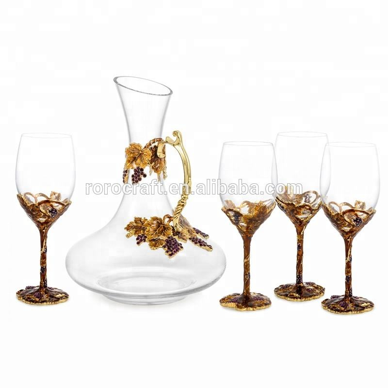 RORO Golden Harvest grape enamel crystal glass wine glass set/wine decanter wine glasses goblet with pewter/metal stem
