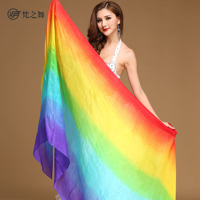 P-9105 Classic real silk rainbow color 2.4*1.14m belly dance veil wholesale