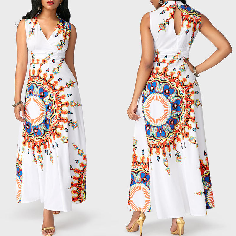 African Fashion Designs Elegant Clothing Floral Print Pencil Long Maxi Dress