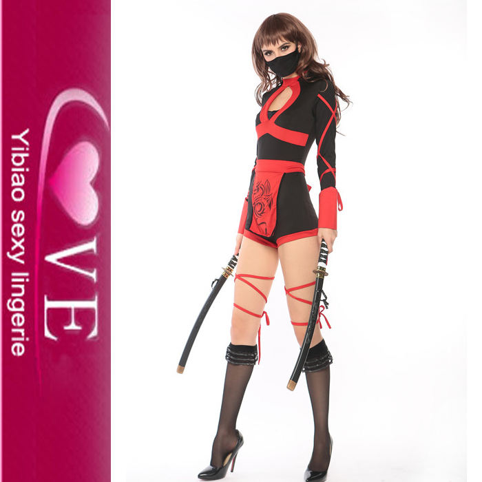 Commercio all'ingrosso Strapped Up Sexy Feroce Red Ninja Costume Con Red Sash
