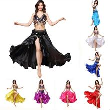 Bestdance Women Split wave Skirt Belly Dance Skirt Satin Long Skirt Belly Dance Costume Set